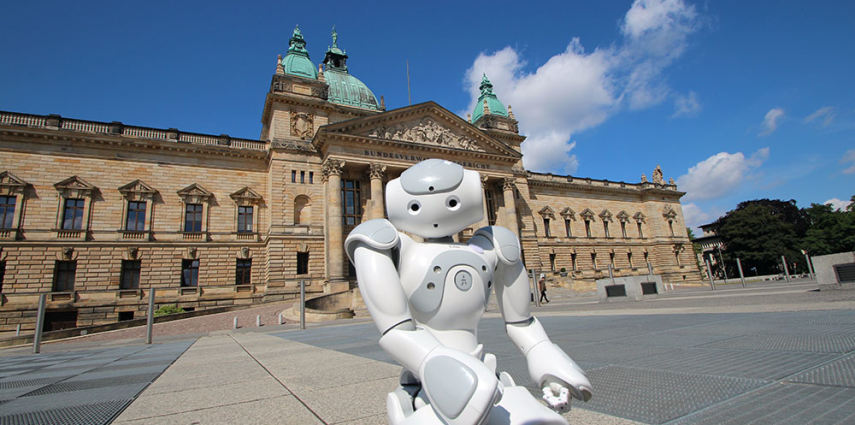 Leipzig will host the 20th RoboCup. Ellie, a robot from Aldebaran, discovers Leipzig's downtown area - this image shows the Federal Administrative Court.  Image: Leipziger Messe GmbH
